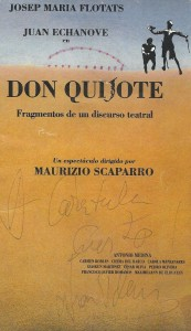 Cartel Don Quijote de Scaparro con firma de de Juan Echanove.