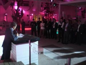 El Presidente de Legado Expo, Alberto Martín, hace balance del veinte aniversario durante la recepción a los colaboradores en Plaza Europa.