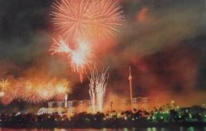 Fuegos artificiales en la noche inaugural.