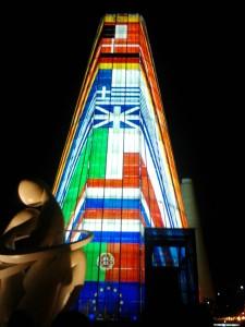 La noche del 20 de Abril se volvió a iluminar el Pabellón de la CEE, símbolo ya del PCT Cartuja.