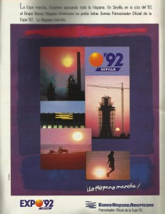 Banco Hispano Americano patrocinador Expo 92.