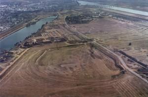 Construción del Lago de España (Fotografía Archivo General de Andalucía).