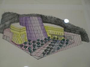 Boceto del diseño del Pabellón de Andalucía realizado por Juan Ruesga (Boceto expuesto en el 2012 en la Exposición Recuerdos de una Exposición Universal 1992-2012).