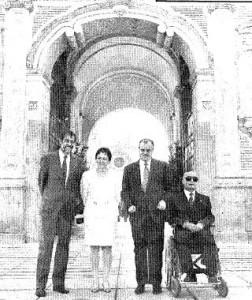 Emilio Cassinello, Matilde Fernández, José María Arroyo y el director del Pabellón de la Once Felix Hernández Delso (Fotografía A.Doblado - ABC).