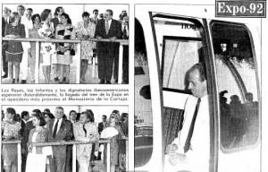 Dignatarios esperando para entrar en el tren monorraíl de Expo'92 (Fotografías ABC).