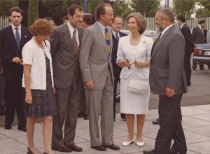 El Comisario de la Expo'92, Jacinto Cassinello, los Reyes de España y Jacinto Pellón, Presidente de la Sociedad Estatal de la Expo, (Fotografía Manuel Hernández).