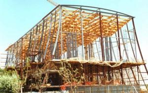 Construcción Pabellón de Japón.