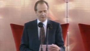 El Rey Juan Carlos I dando su discurso inaugural.